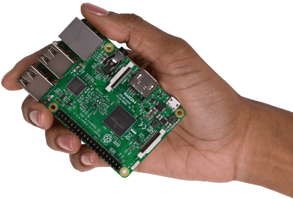 The Raspberry Pi motherboard, shown to sacle.